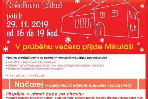 Hudba, darování a Mikuláš na Svatomikulášských oslavách spojených s charitou v libušské sokolovně