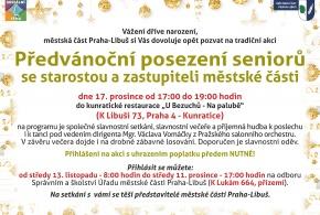 Přihlášení od 13. 11. 2019 od 8:00 na Předvánoční posezení seniorů se starostou a zastupiteli městské části